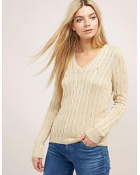Polo Ralph Lauren - Womens Cable Knitted V-neck Jumper - Online Exclusive Beige - Lyst