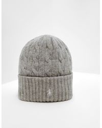 aeb555fc71d Lyst - Polo Ralph Lauren Exploded Rope Cable Cuff Hat W  Pom in Natural