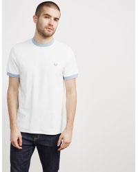 Fred Perry - Mens Pique Neck Stripe Short Sleeve T-shirt White - Lyst