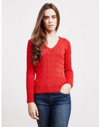 Polo Ralph Lauren - Womens Kimberly V-neck Jumper Red - Lyst
