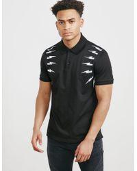 Neil Barrett - Mens Bolt Short Sleeve Polo Shirt Black - Lyst
