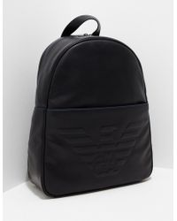 f13ca8fb0634 Emporio Armani Black Eagle Embossed Eco Leather Men s Backpack in ...