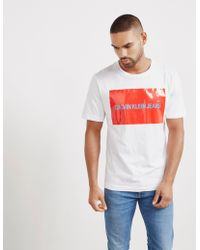 Calvin Klein - Mens Large Box Short Sleeve T-shirt White - Lyst