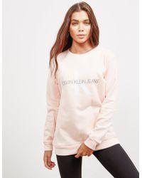 Calvin Klein - Womens Monogram Logo Sweatshirt Pink - Lyst