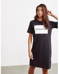 Calvin Klein - Womens T-shirt Dress Black - Lyst
