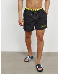 Calvin Klein - Mens Double Waistband Swim Shorts Black - Lyst