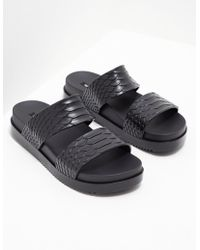 Melissa - Womens X Baja East Python Slides - Online Exclusive Black - Lyst