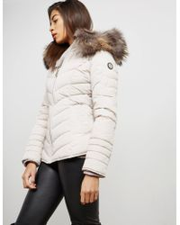 FROCCELLA - Womens Chevron Padded Jacket Grey - Lyst