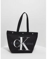 Calvin Klein - Canvas Utility Tote Bag Black - Lyst