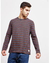 Nudie Jeans - Mens Mix Stripe Long Sleeve T-shirt - Online Exclusive Navy Blue - Lyst