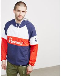 Penfield - Mens Block Overhead Jacket Navy/white/red - Lyst