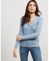 Polo Ralph Lauren - Womens Cable Knitted Jumper Blue - Lyst