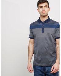 Michael Kors - Mens Stripe Short Sleeve Polo Shirt Navy Blue - Lyst