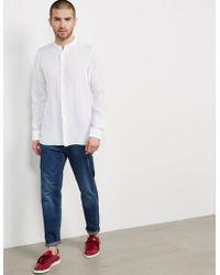 Z Zegna - Mens Guru Collar Long Sleeve Shirt White - Lyst