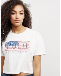 Polo Ralph Lauren - Womens Flag Short Sleeve Crop T-shirt White - Lyst