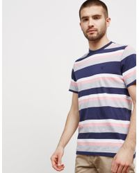 Barbour - Mens Foundry Stripe Short Sleeve T-shirt Navy Blue - Lyst