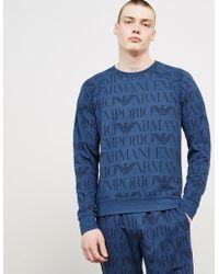 Emporio Armani - Mens All Over Print Sweatshirt Blue - Lyst