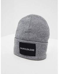 Calvin Klein - Mens Patch Beanie Grey - Lyst