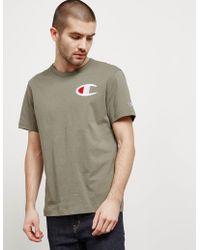 Champion - Mens Medium Logo Short Sleeve T-shirt Green - Lyst