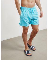 Calvin Klein - Mens Side Logo Swim Shorts Blue - Lyst