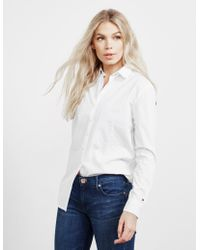 Tommy Hilfiger - Icon Girlfriend Long Sleeve Shirt White - Lyst