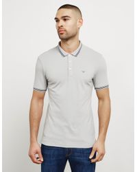 Emporio Armani - Mens Basic Tipped Short Sleeve Polo Shirt Grey - Lyst