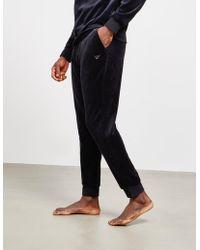 Emporio Armani - Mens Velour Cuffed Track Trousers Black - Lyst