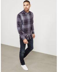 Michael Kors - Mens Checked Long Sleeve Shirt Purple - Lyst