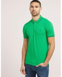 Armani Jeans - Mens Tipped Short Sleeve Polo Shirt - Online Exclusive Green - Lyst