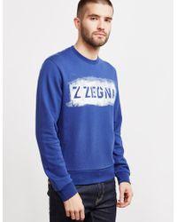 Z Zegna - Mens Large Logo Sweatshirt Blue - Lyst