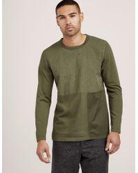 Folk - Mens Panel Long Sleeve T-shirt Green - Lyst