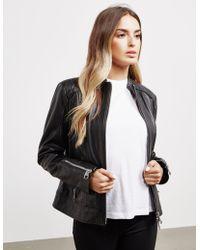 BOSS - Womens Zip Leather Jacket Black - Lyst