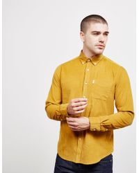 Barbour - Mens Cord Long Sleeve Shirt Yellow - Lyst