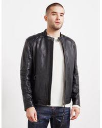 BOSS - Jagson Leather Biker Jacket Black - Lyst