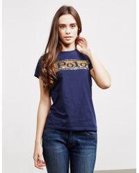Polo Ralph Lauren Sequin Polo Short Sleeve T-shirt Navy Blue