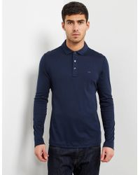 Michael Kors - Mens Sleek Long Sleeve Polo Shirt Navy Blue - Lyst