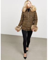 FROCCELLA - Womens Padded Fur Jacket - Online Exclusive Green - Lyst