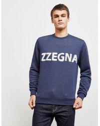 Z Zegna - Mens Flocked Logo Sweatshirt Navy Blue - Lyst