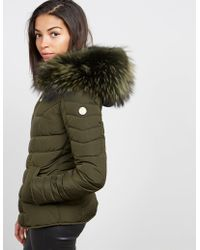 FROCCELLA - Womens Chevron Padded Jacket Green - Lyst