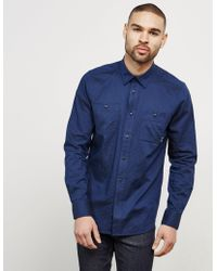 Barbour - Mens International Harris Long Sleeve Shirt - Exclusive Navy Blue - Lyst