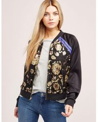 Juicy Couture - Womens Embroidered Bomber Jacket Black - Lyst