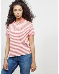 Polo Ralph Lauren - Womens Poncho Stripe Short Sleeve Polo Shirt Red - Lyst