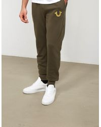 True Religion - Mens Gold Puff Cuffed Track Pants Olive/gold - Lyst