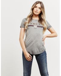 True Religion - Womens True Short Sleeve T-shirt Grey - Lyst