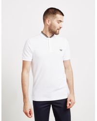 784657e4ef3 Fred Perry Polo Shirt With Bomber Neckline Slim Fit in White for Men ...