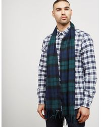 Barbour - Mens Tartan Cashmere Scarf Navy/green - Lyst