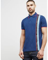 Versace - Mens Tape Tipped Short Sleeve Polo Shirt Navy - Lyst