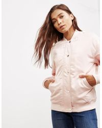 Calvin Klein - Womens Snap Button Bomber Jacket Pink - Lyst