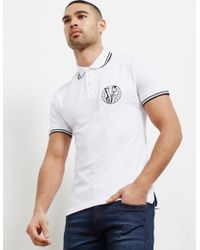 Versace Jeans - Mens Tipped Logo Short Sleeve Polo Shirt White - Lyst