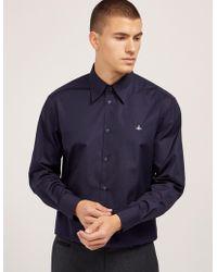 Vivienne Westwood   Mens Poplin Long Sleeve Shirt Navy   Lyst